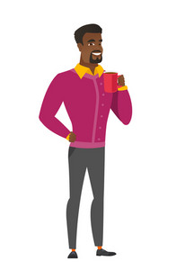 African-american smiling businessman holding cup of coffee. Full length of businessman drinking coffee. Businessman with cup of coffee. Vector flat design illustration isolated on white background.