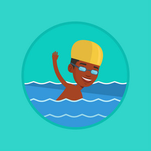 African-american sportsman in cap and glasses swimming in pool. Young swimmer in swimming pool. Man swimming forward crawl style. Vector flat design illustration in the circle isolated on background.