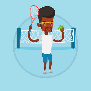 African-american sportsman playing tennis. Smiling tennis player standing on the court. Tennis player holding a racket and a ball. Vector flat design illustration in the circle isolated on background.