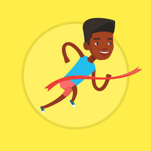 African-american sportsman running through finish line. Cheerful winner crossing finish line. Sprinter breaking the finish line. Vector flat design illustration in the circle isolated on background.