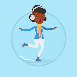 African-american sportswoman ice skating. Young smiling woman ice skating. Woman at skating rink. Figure skater posing on skates. Vector flat design illustration in the circle isolated on background.