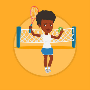 African-american sportswoman playing tennis. Young tennis player standing on the court. Tennis player holding a racket and a ball. Vector flat design illustration in the circle isolated on background.