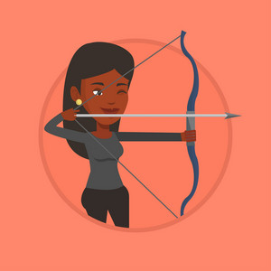 African-american sportswoman practicing in archery. Young woman training with the bow. Archery player aiming with a bow in hands. Vector flat design illustration in the circle isolated on background.
