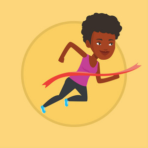 African-american sportswoman running through finish line. Cheerful winner crossing finish line. Sprinter breaking the finish line. Vector flat design illustration in the circle isolated on background.