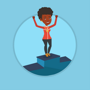 African-american sportswoman with medal and raised hands standing on the winners podium. Woman celebrating on the winners podium. Vector flat design illustration in the circle isolated on background.