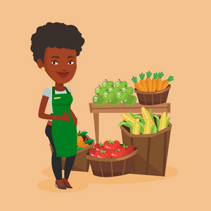 African-american supermarket worker giving thumb up. Young female supermarket worker standing on the background of shelves with vegetables and fruits. Vector flat design illustration. Square layout.