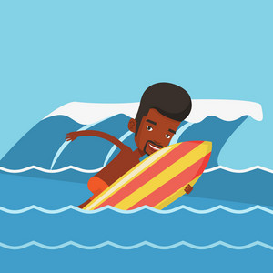 African-american surfer having fun during execution of a move on an ocean wave. Young surfer in action on surf board. Lifestyle and water sport concept. Vector flat design illustration. Square layout.