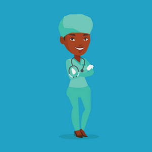 African-american surgeon standing with arms crossed. Young confident surgeon in medical uniform. Happy female surgeon with stethoscope on her neck. Vector flat design illustration. Square layout.