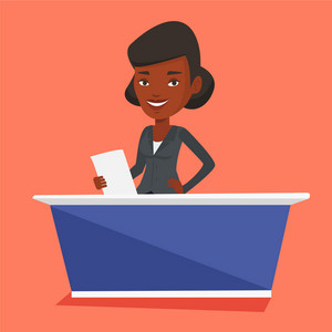 African-american television anchorwoman at studio during live broadcasting. Television anchorwoman working at studio. Tv anchorwoman reporting the news. Vector flat design illustration. Square layout.