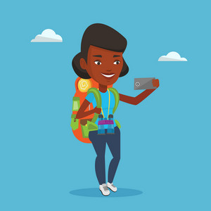 African-american tourist making selfie. Tourist with backpack and binoculars taking selfie with cellphone. Tourist taking selfie during summer trip. Vector flat design illustration. Square layout.