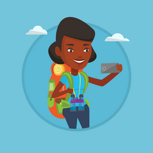 African-american tourist making selfie. Tourist with backpack taking selfie with cellphone. Tourist taking selfie during trip. Vector flat design illustration in the circle isolated on background.