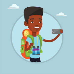 African-american tourist taking selfie. Tourist with backpack and binoculars taking selfie with cellphone. Tourist taking selfie. Vector flat design illustration in the circle isolated on background.