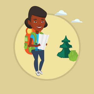 African-american traveler exploring the map. Traveler with backpack looking at map. Traveler searching right direction on a map. Vector flat design illustration in the circle isolated on background.
