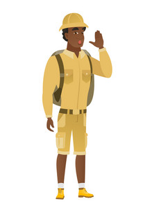 African-american traveler lost and calling for help. Full length of young traveler calling for help. Traveler in trouble calling for help. Vector flat design illustration isolated on white background.