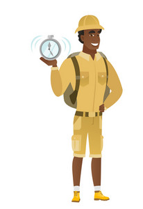 African-american traveler showing ringing alarm clock. Full length of young traveler with alarm clock. Happy traveler holding alarm clock. Vector flat design illustration isolated on white background