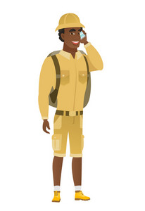 African-american traveler talking on a mobile phone. Young smiling traveler talking on cell phone. Traveler using cell phone. Vector flat design illustration isolated on white background.
