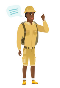 African-american traveler with speech bubble. Young traveler giving a speech. Traveler with speech bubble coming out of his head. Vector flat design illustration isolated on white background.