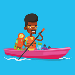 African-american traveling man riding in a kayak on the river with skull in hands and tourist equipment behind him. Happy kayaker traveling by kayak. Vector flat design illustration. Square layout.