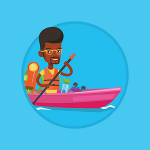African-american traveling man riding in a kayak on the river with skull in hands. Happy man traveling by kayak during summer trip. Vector flat design illustration in the circle isolated on background