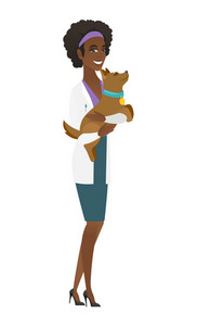 African-american veterinarian doctor holding dog. Veterinarian doctor carrying a dog. Veterinarian doctor examining dog. Pet care concept. Vector flat design illustration isolated on white background.