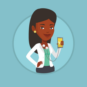 African-american woman checking blood pressure with smartphone application. Woman measuring heart rate pulse with smartphone app. Vector flat design illustration in the circle isolated on background.