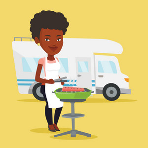 African-american woman cooking steak on the barbecue grill on the background of camper van. Woman travelling by camper van and having barbecue party. Vector flat design illustration. Square layout.