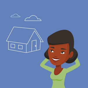 African-american woman dreaming about future life in a new house. Happy woman planning her future purchase of house. Woman thinking about buying a house. Vector flat design illustration. Square layout