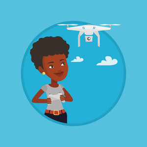 African-american woman flying drone with remote control. Woman operating a drone with remote control. Woman controling a drone. Vector flat design illustration in the circle isolated on background.