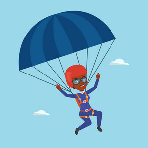 African-american woman flying with a parachute. Young woman paragliding on a parachute. Professional parachutist descending with a parachute in the sky. Vector flat design illustration. Square layout.