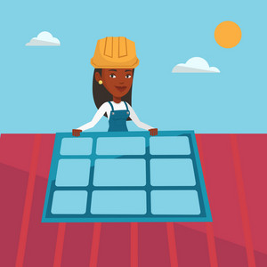 African-american woman installing solar panels on roof. Technician in inuform and hard hat checking solar panel on roof. Eengineer adjusting solar panel. Vector flat design illustration. Square layout