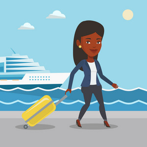 African-american woman is going to voyage on cruise liner. Girl walking on the background of cruise liner. Passenger of cruise liner walking on the pier. Vector flat design illustration. Square layout