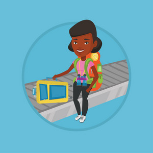 African-american woman picking up suitcase on luggage conveyor belt at airport. Young woman taking her luggage at conveyor belt. Vector flat design illustration in the circle isolated on background.
