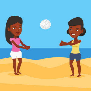African-american woman playing beach volleyball with her friend. African-american women having fun while playing beach volleyball during summer holiday. Vector flat design illustration. Square layout.