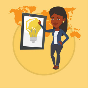 African-american woman pointing at a big tablet computer with a light bulb on a screen. Busineswoman standing near tablet computer. Vector flat design illustration in the circle isolated on background