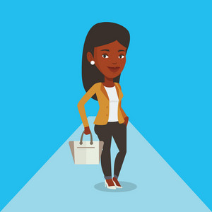 African-american woman posing on catwalk during fashion event. Female model walking on catwalk during fashion week. Woman on catwalk during fashion show. Vector flat design illustration. Square layout