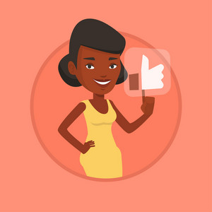 African-american woman pressing modern social button with thumb up. Young happy woman pressing like button. Social network concept. Vector flat design illustration in the circle isolated on background