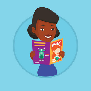 African-american woman reading a magazine. Young woman standing with magazine in hands. Happy woman reading good news in magazine. Vector flat design illustration in the circle isolated on background.