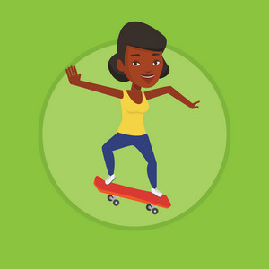 African-american woman riding a skateboard. Sportswoman skateboarding. Skater riding a skateboard. Woman jumping with skateboard. Vector flat design illustration in the circle isolated on background.