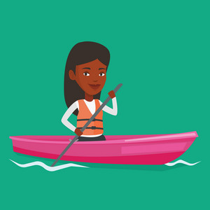 African-american woman riding in a kayak in the river. Woman with skull in hands traveling by kayak. Female kayaker paddling. Woman paddling a canoe. Vector flat design illustration. Square layout.