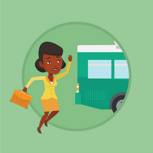 African-american woman running for an outgoing bus. Young woman running to catch bus. Sad latecomer woman running to reach a bus. Vector flat design illustration in the circle isolated on background.