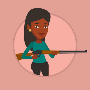 African-american woman shooting skeet with shotgun. Hunter ready to hunt with hunting rifle. Young woman aiming with a hunter gun. Vector flat design illustration in the circle isolated on background.