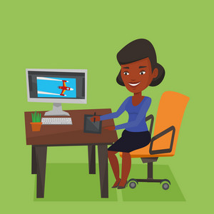African-american woman sitting at desk and drawing on graphics tablet. Young graphic designer using a digital graphics tablet, computer and pen. Vector flat design illustration. Square layout.