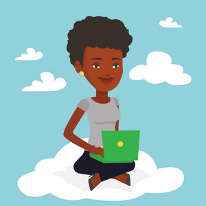 African-american woman sitting on a cloud with laptop. Woman using cloud computing technology. Woman working on computer. Concept of cloud computing . Vector flat design illustration. Square layout.