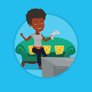African-american woman sitting on a sofa and playing video game on the television. Woman with console in hands playing video game. Vector flat design illustration in the circle isolated on background