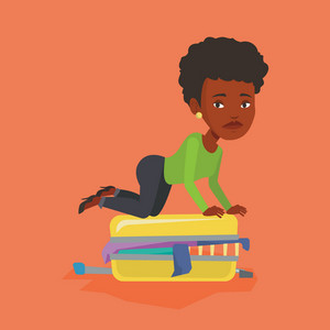 African-american woman sitting on suitcase and trying to close it. Frustrated woman having problems with packing a lot of clothes into a single suitcase. Vector flat design illustration. Square layout