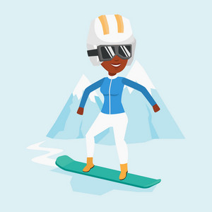 African-american woman snowboarding on the background of snow capped mountain. Snowboarder on piste in mountains. Woman snowboarding in the mountains. Vector flat design illustration. Square layout.