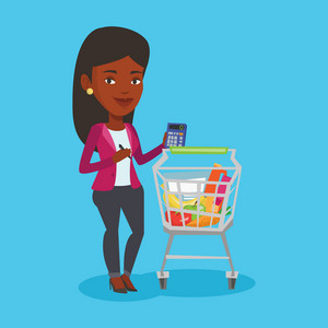 African-american woman standing near supermarket trolley with calculator in hand. Woman checking prices on calculator. Customer counting on calculator. Vector flat design illustration. Square layout.