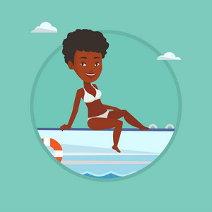 African-american woman travelling by yacht. Happy woman tanning on yacht during summer trip. Woman sitting on the front of yacht. Vector flat design illustration in the circle isolated on background.