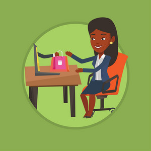African-american woman using laptop for online shopping. Young woman shopping online. Woman making online order in virtual shop. Vector flat design illustration in the circle isolated on background.