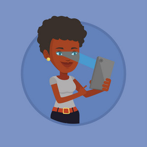 African-american woman using smart mobile phone with retina scanner. Young woman using iris scanner to unlock her mobile phone. Vector flat design illustration in the circle isolated on background.